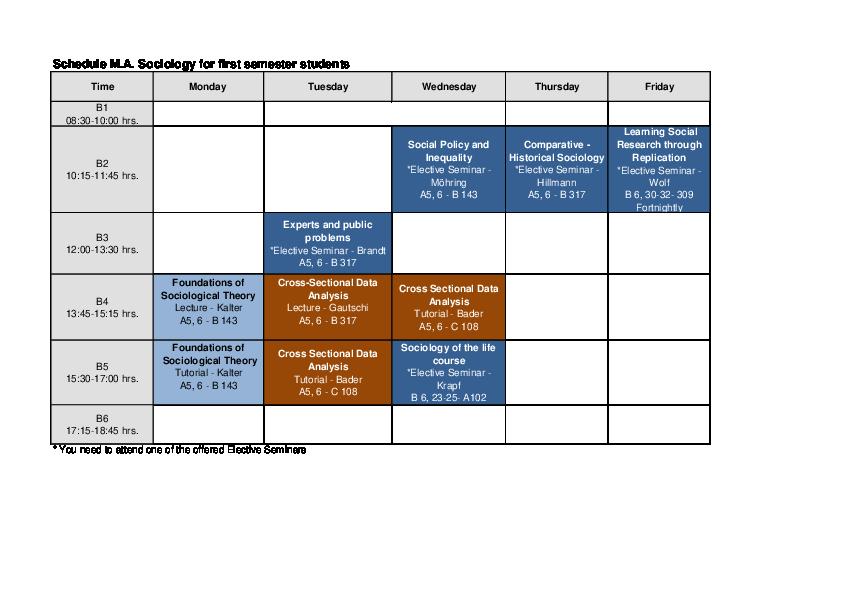 Mannheim uni semester dates